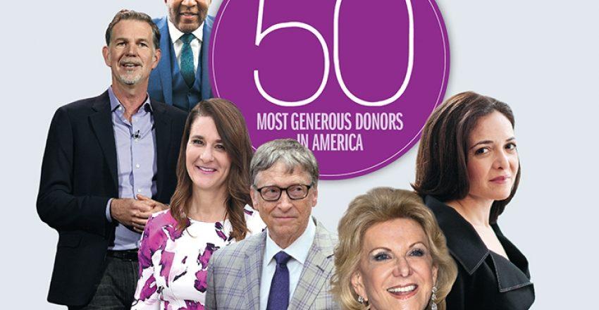 Il ranking annuale dei 50 maggiori filantropi americani